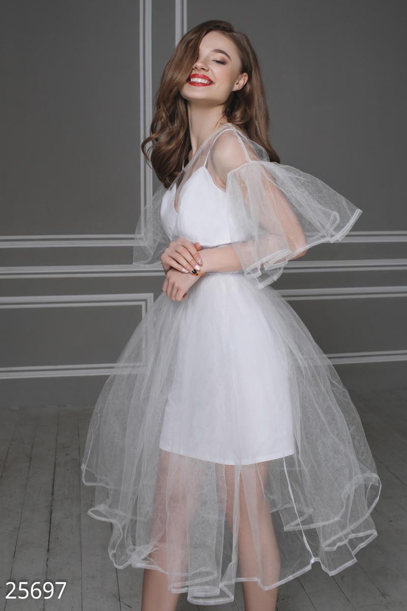 Воздушное платье миди  из бенгалина и фатина белое