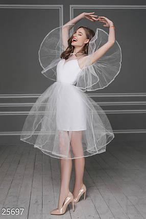 79055a4f320 Воздушное платье миди из бенгалина и фатина белое  продажа
