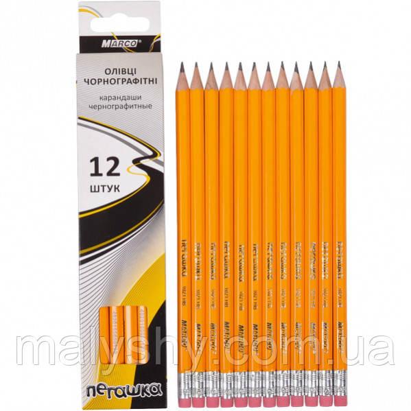 КАРАНДАШ ПРОСТОЙ MARCO с резинкой, жесткость НВ, 1шт (олівець простий марко)
