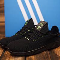 Мужские кроссовки Adidas HU текстиль, черные 42 43 44 45