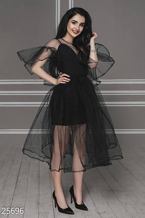 Нарядное платье средней длины с воланами из фатина черное, фото 2