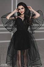 Нарядное платье средней длины с воланами из фатина черное, фото 3