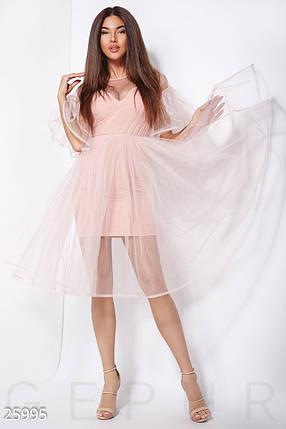 Вечернее платье средней длины с пышной юбкой и воланами из фатина нежно розовое, фото 2