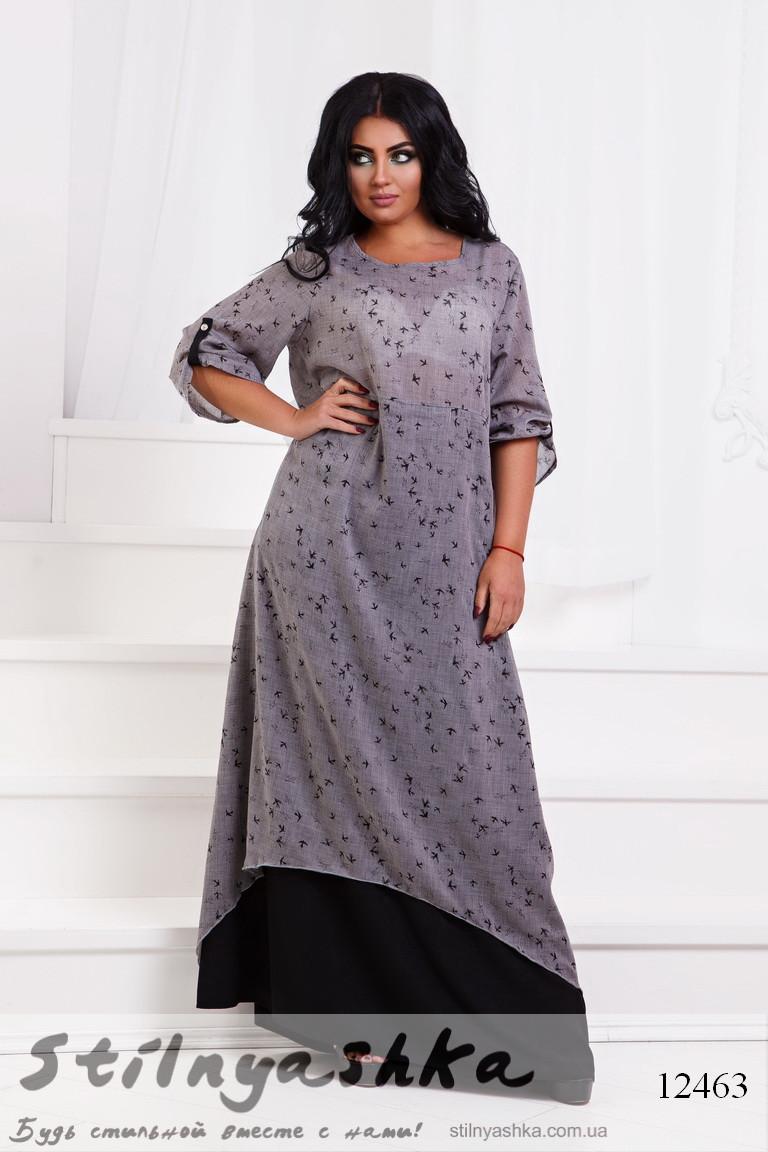 Легкое платье в пол большого размера Птички серое, фото 1