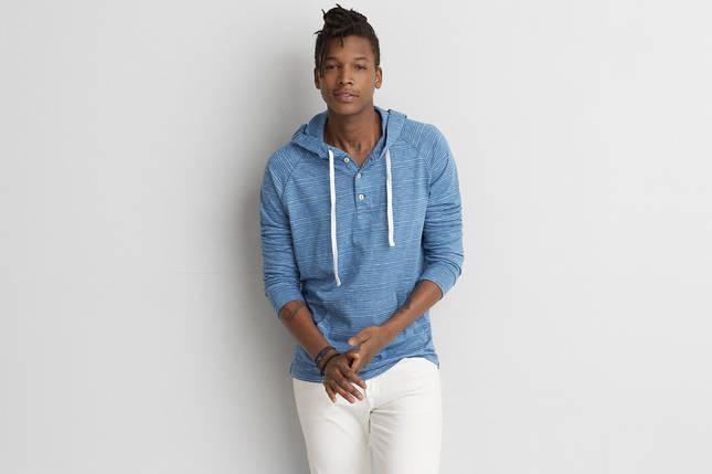 Модная мужская кофта AEO Long-Sleeve Hooded BLUE, фото 2