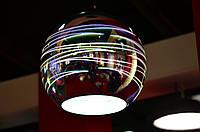Світильник підвісний  E27 плафон скло 3D ефект круглий/овальний хром