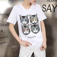 Женская футболка в стиле Gucci с кошечками белая , фото 1