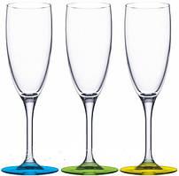 """Набор бокалов на цветной ножке """"Эдем"""" 170мл. 3шт. лакмикс"""