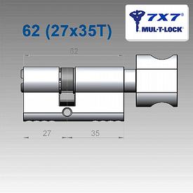 Цилиндр Mul-T-Lock 7х7 62 мм (27х35Т)