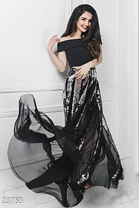 Вечерний костюм двойка топ и пышная юбка из сетки и пайетки серебристо черный