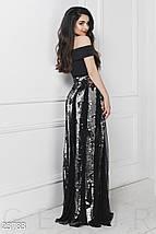 Вечерний костюм двойка топ и пышная юбка из сетки и пайетки серебристо черный, фото 2