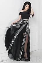 Вечерний костюм двойка топ и пышная юбка из сетки и пайетки серебристо черный, фото 3