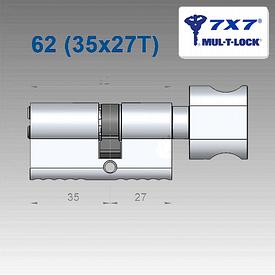 Цилиндр Mul-T-Lock 7х7 62 мм (35х27Т)