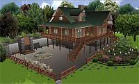 3D-миниатюра дома и лужайки