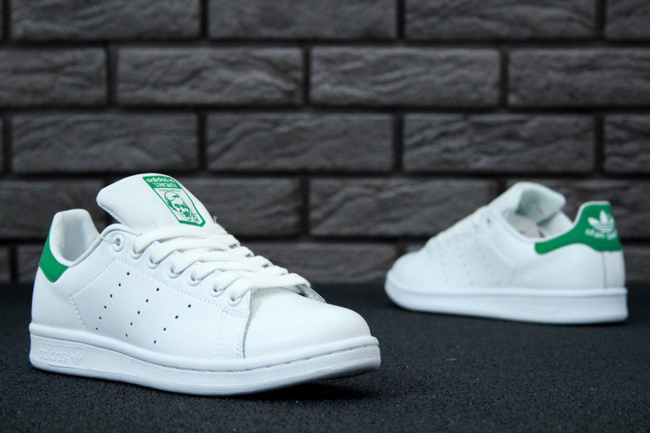 ... Кроссовки женские    Adidas Stan Smith White Green   кожаные  белые, ... 9dc7abb863c