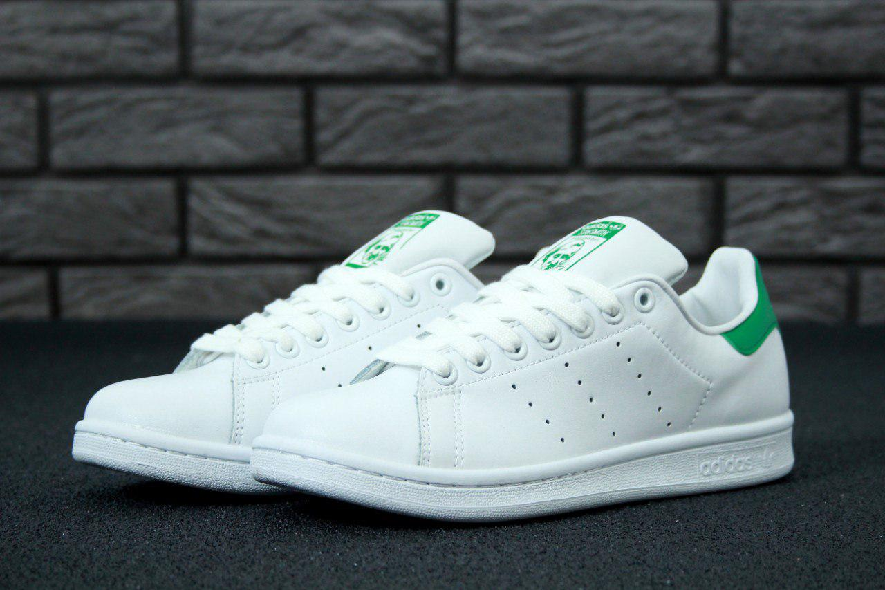 Кроссовки женские    Adidas Stan Smith White Green   кожаные  белые, ... 6dd7c4aae72