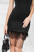 Вечернее платье облегающее с кружевами и фатином без рукав черное, фото 3