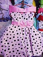 Детское нарядное платье Стиляга. Планочка розовое в горох. 6 лет.