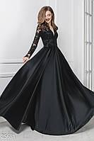 Вечернее длинное платье из королевского атласа длинный рукав с кружевом черное