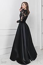 b863e43a22e Вечернее платье юбка пышная из королевского атласа длинная длинный рукав  прозрачный с кружевами черное