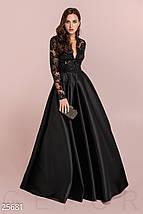 Вечернее длинное платье из королевского атласа длинный рукав с кружевом черное, фото 3
