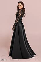 Вечернее длинное платье из королевского атласа длинный рукав с кружевом черное, фото 2