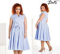 Летнее батальное платье с карманами в полоску. 3 цвета!, фото 1