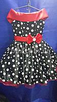 Детское нарядное платье Стиляга. Планочка красная, цвет черный в горох. 6 лет.