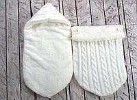 Вязаный конверт кокон на выписку кокон молоко на махре ( детские конверты )