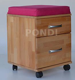 Тумба-пуфик массив дерева Бук, обивка ткань Crimson малиновый (ТМ-Понди)