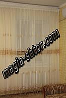 Тюль молочный лен с золотой вышивкой, фото 1