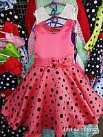 """Детское нарядное платье """"Стиляги -1"""". Горох 6 лет. Коралловое"""
