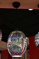 Світильник підвісний  E27 плафон скло 3D ефект овальний хром,мідь