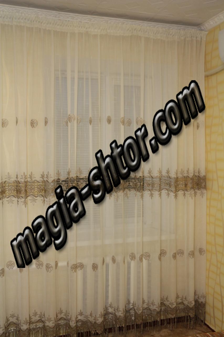 Тюль молочный лен с коричневой вышивкой