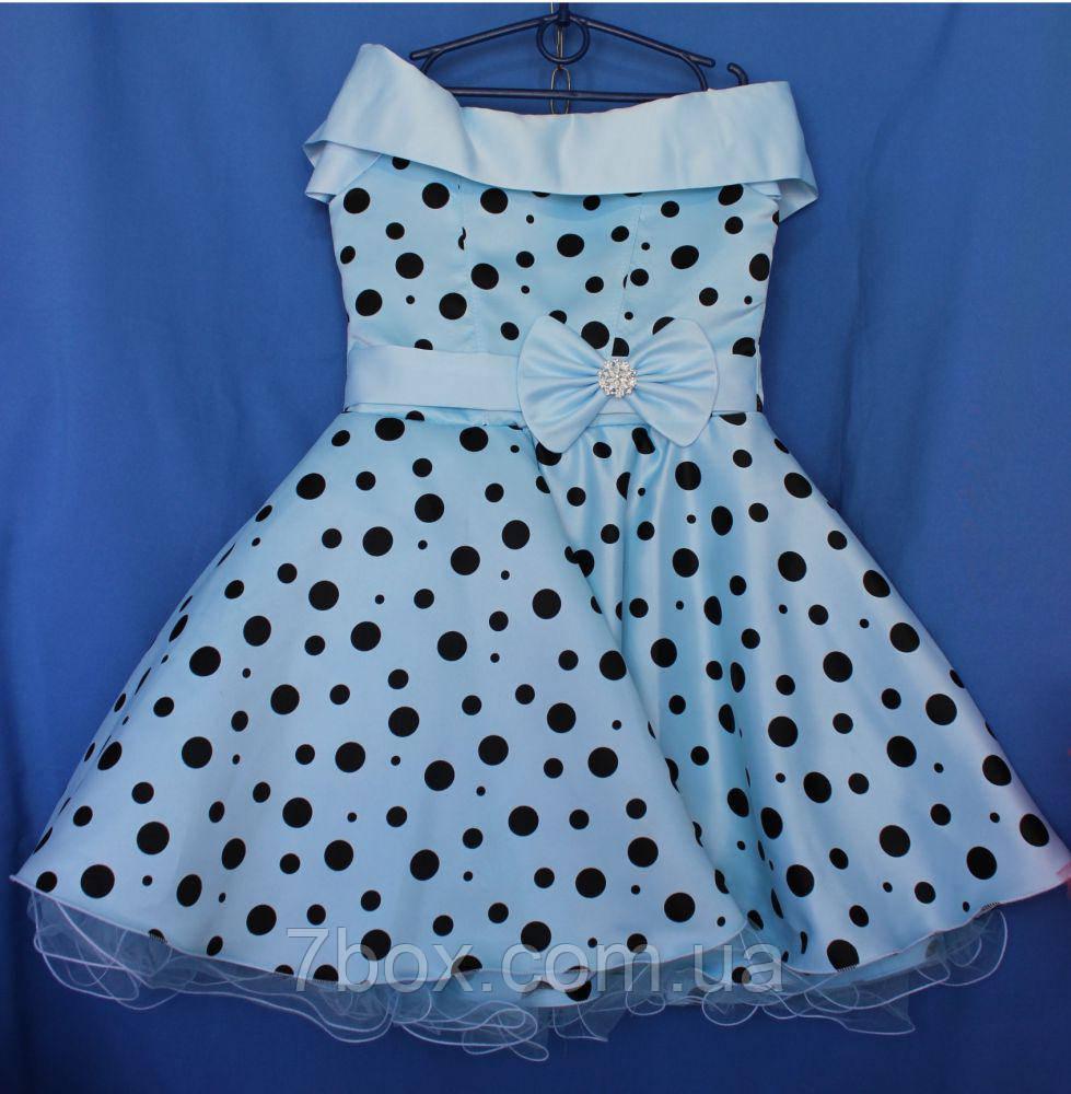 Детское нарядное платье Стиляга. Голубое. 9-10лет.