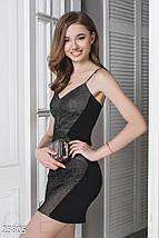 Модное платье мини облегающее на бретельках черно коричневое, фото 2