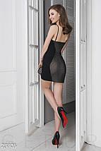 Модное платье мини облегающее на бретельках черно коричневое, фото 3
