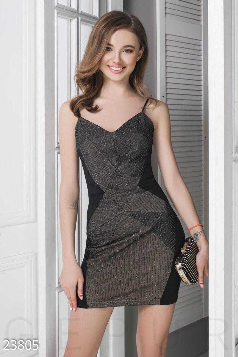 Модное платье мини облегающее на бретельках черно коричневое