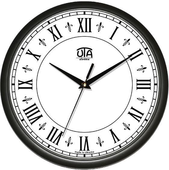 Часы настенные круглые черные Римские цифры