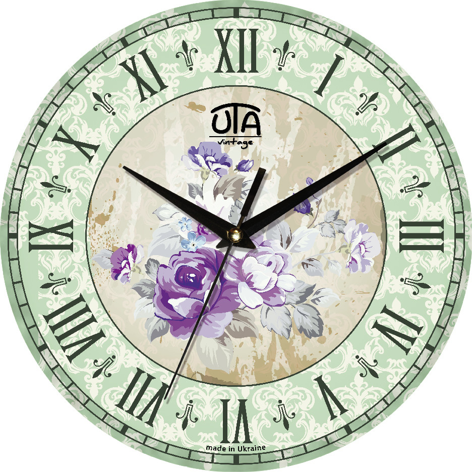 Часы настенные круглые Цветы