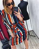Женское яркое платье-кимоно в полоску с поясом