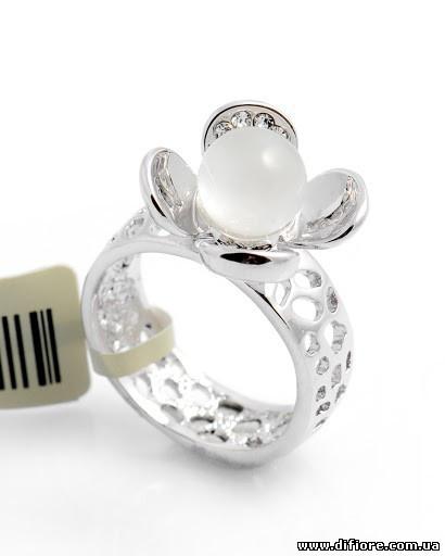 Ажурное кольцо родий с кошачим глазом
