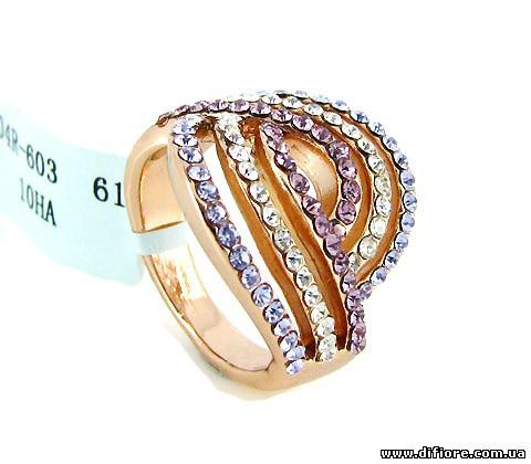 Ангельское кольцо с сиреневыми и белыми фианитами