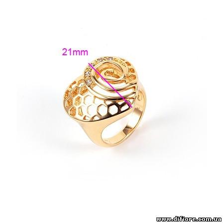 Великолепное кольцо с завитками и белыми фианитами