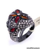 Великолепное кольцо с фианитами и оранжевой эмалью