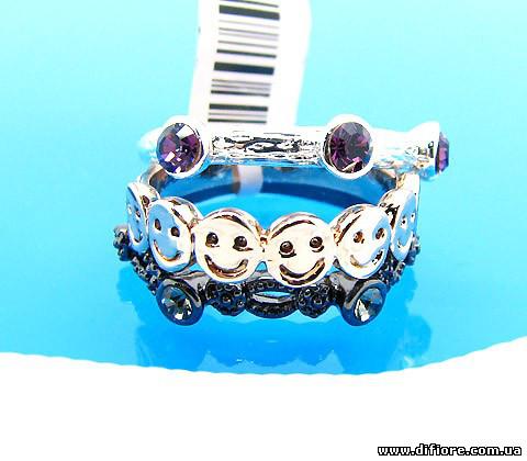 Двойное кольцо со смайлами и оксидом родия