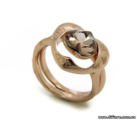 Двойное позолоченное кольцо с медовым фианитом