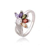 Изысканное кольцо с цветными фианитами