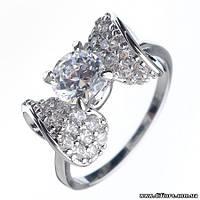 Интересное кольцо Бант с фианитами