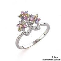 Интересное кольцо Корона с прозрачными фианитами